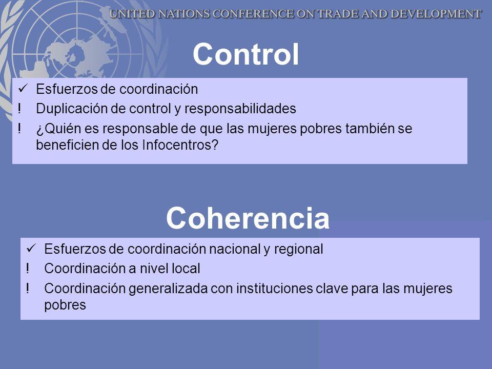 Control Esfuerzos de coordinación !Duplicación de control y responsabilidades !¿Quién es responsable de que las mujeres pobres también se beneficien de los Infocentros.