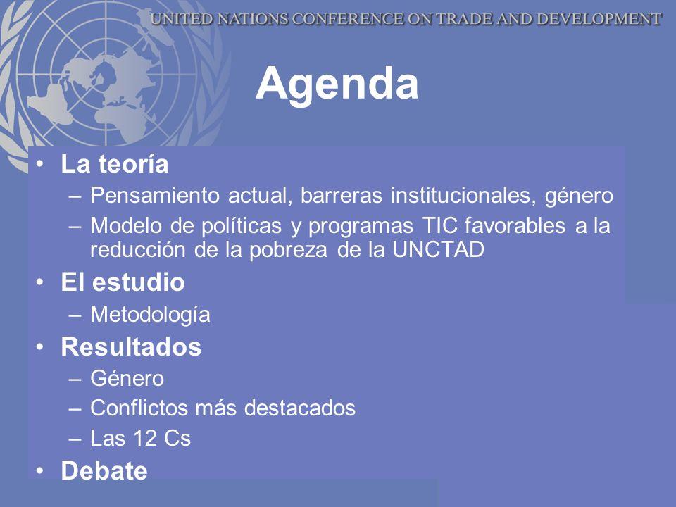 Agenda La teoría –Pensamiento actual, barreras institucionales, género –Modelo de políticas y programas TIC favorables a la reducción de la pobreza de la UNCTAD El estudio –Metodología Resultados –Género –Conflictos más destacados –Las 12 Cs Debate