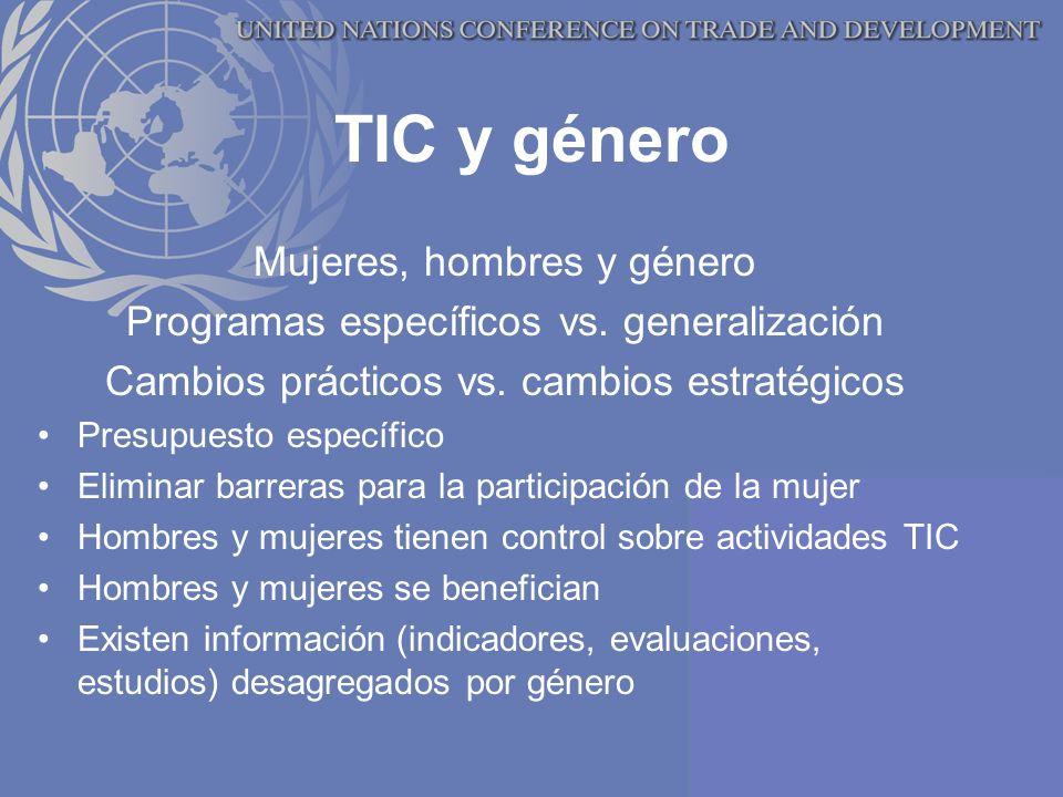 TIC y género Mujeres, hombres y género Programas específicos vs.