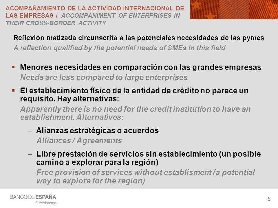 5 ACOMPAÑAMIENTO DE LA ACTIVIDAD INTERNACIONAL DE LAS EMPRESAS / ACCOMPANIMENT OF ENTERPRISES IN THEIR CROSS-BORDER ACTIVITY Reflexión matizada circunscrita a las potenciales necesidades de las pymes A reflection qualified by the potential needs of SMEs in this field Menores necesidades en comparación con las grandes empresas Needs are less compared to large enterprises El establecimiento físico de la entidad de crédito no parece un requisito.