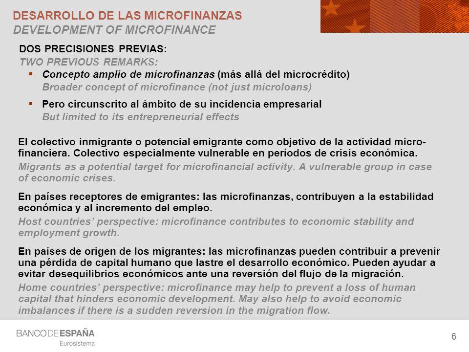 6 DESARROLLO DE LAS MICROFINANZAS DEVELOPMENT OF MICROFINANCE El colectivo inmigrante o potencial emigrante como objetivo de la actividad micro- financiera.