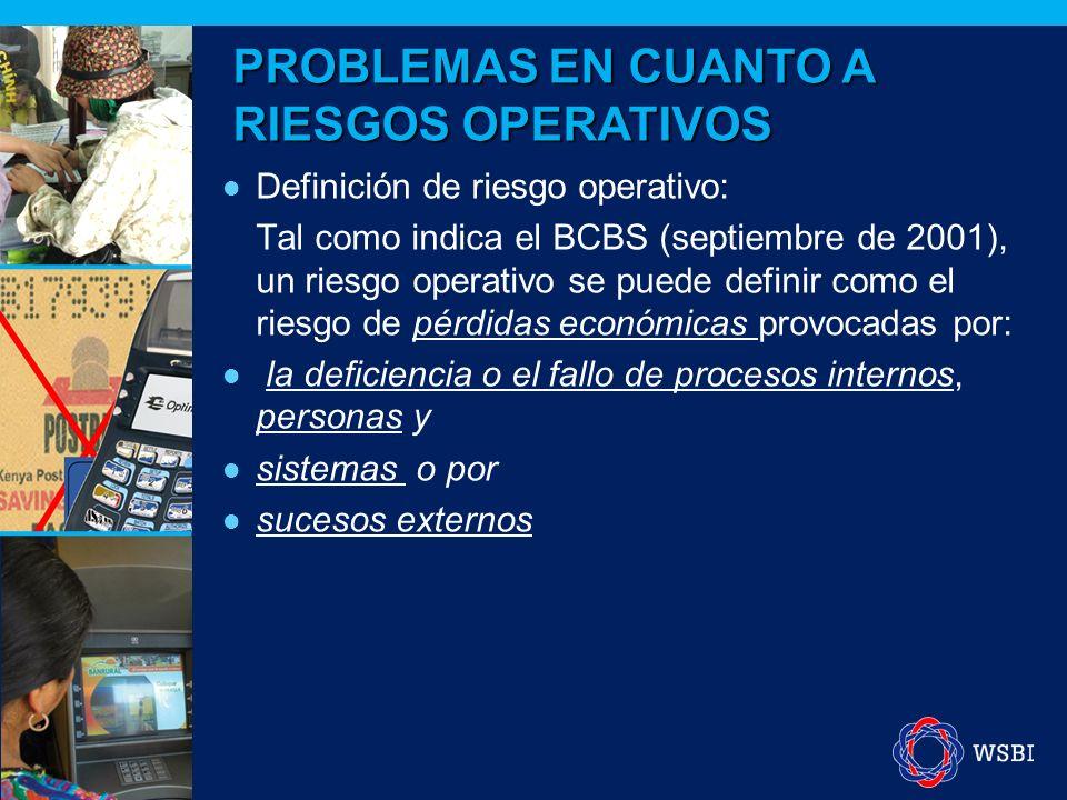 Definición de riesgo operativo: Tal como indica el BCBS (septiembre de 2001), un riesgo operativo se puede definir como el riesgo de pérdidas económicas provocadas por: la deficiencia o el fallo de procesos internos, personas y sistemas o por sucesos externos PROBLEMAS EN CUANTO A RIESGOS OPERATIVOS
