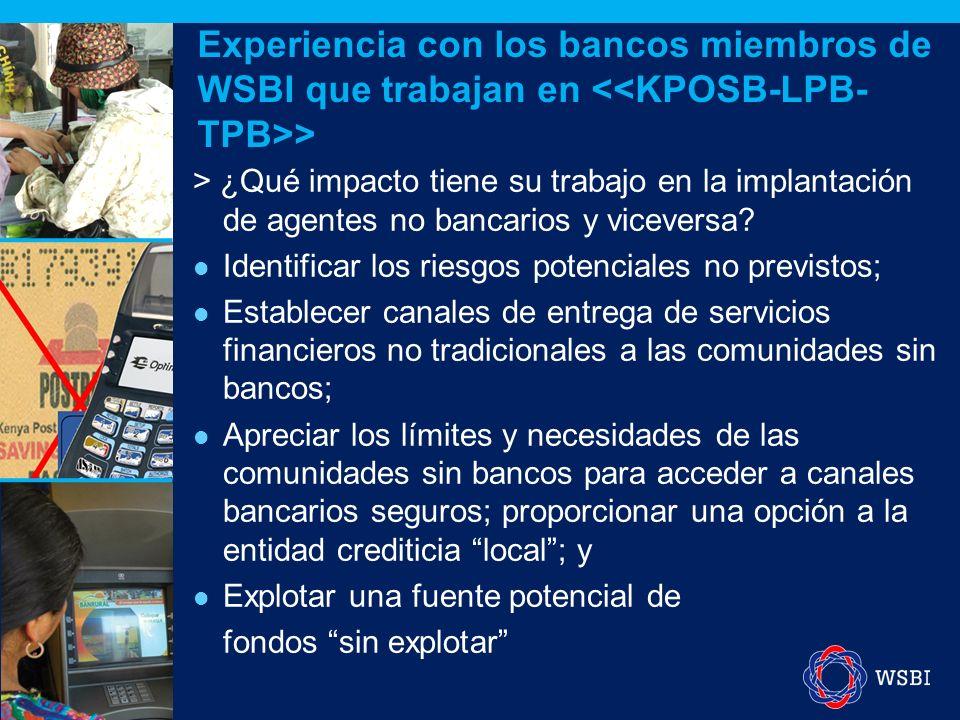 > ¿Qué impacto tiene su trabajo en la implantación de agentes no bancarios y viceversa? Identificar los riesgos potenciales no previstos; Establecer c