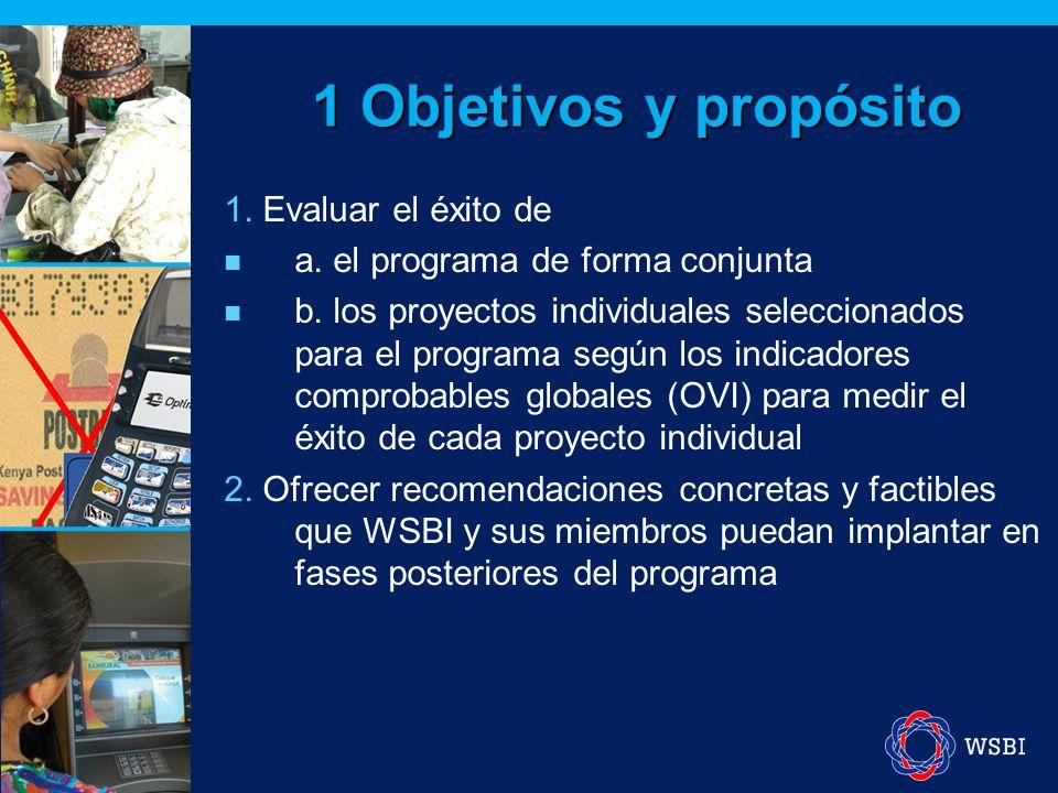 1 Objetivos y propósito 1. Evaluar el éxito de a.