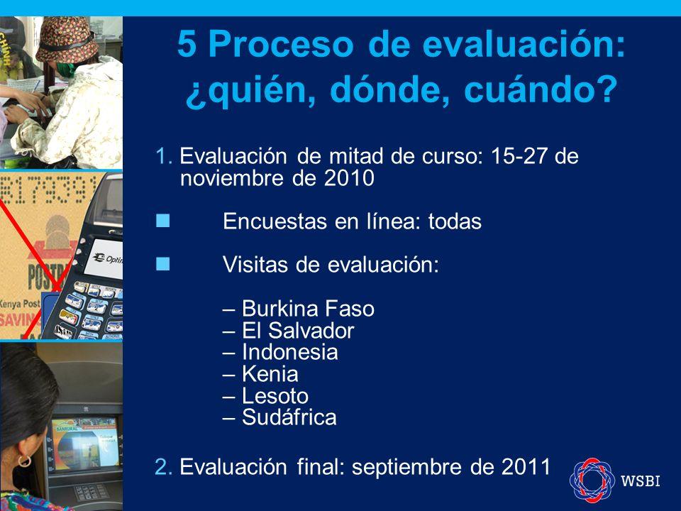 1. Evaluación de mitad de curso: 15-27 de noviembre de 2010 Encuestas en línea: todas Visitas de evaluación: – Burkina Faso – El Salvador – Indonesia