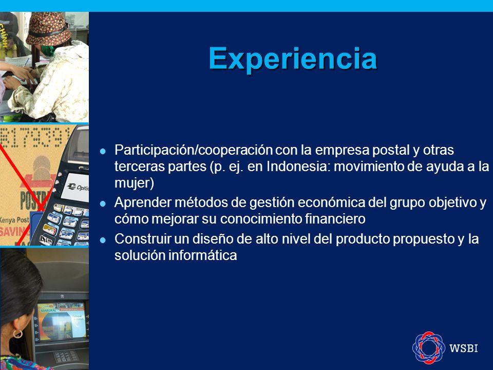 Experiencia Participación/cooperación con la empresa postal y otras terceras partes (p.