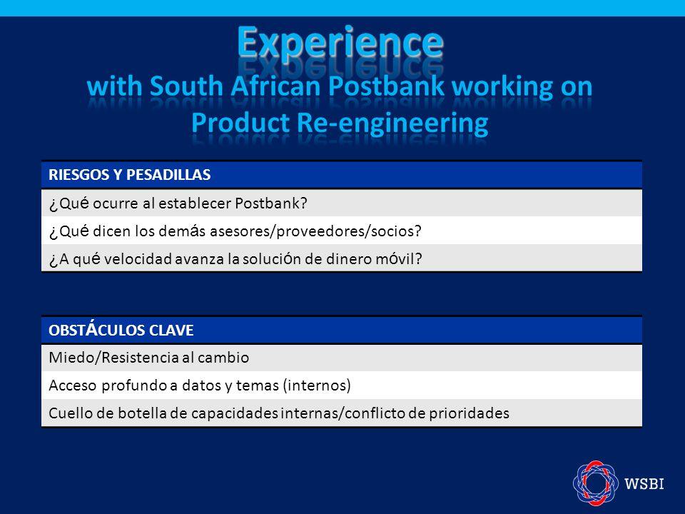 RIESGOS Y PESADILLAS ¿ Qu é ocurre al establecer Postbank? ¿ Qu é dicen los dem á s asesores/proveedores/socios? ¿ A qu é velocidad avanza la soluci ó