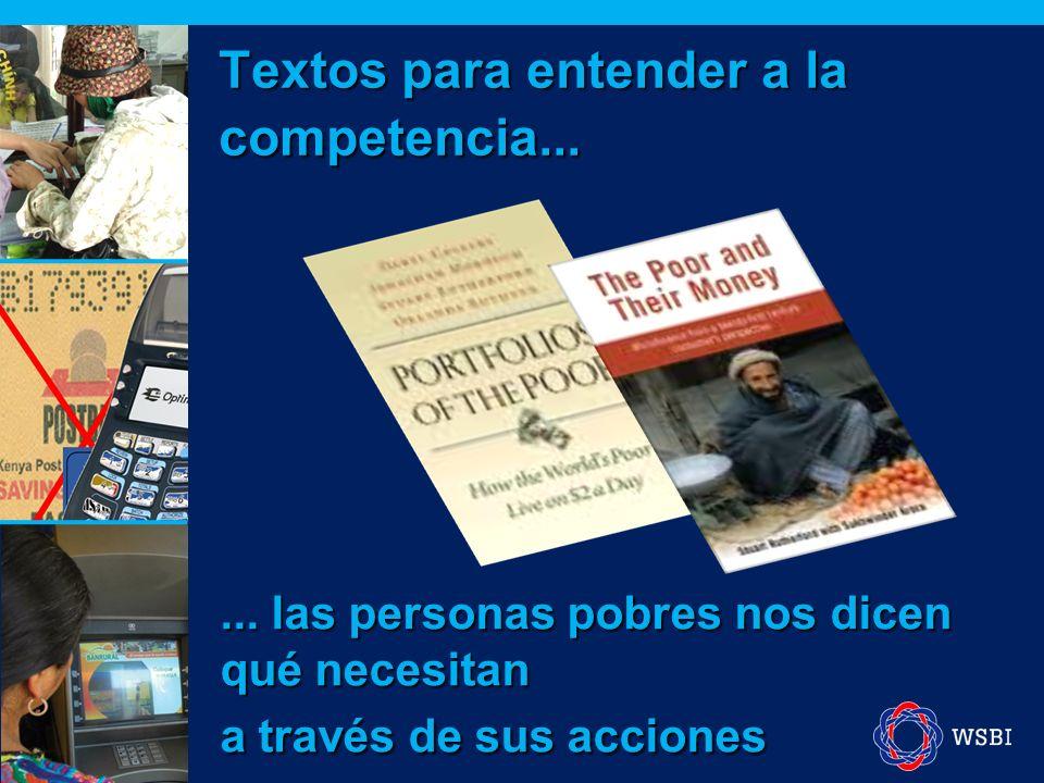 Textos para entender a la competencia...... las personas pobres nos dicen qué necesitan a través de sus acciones
