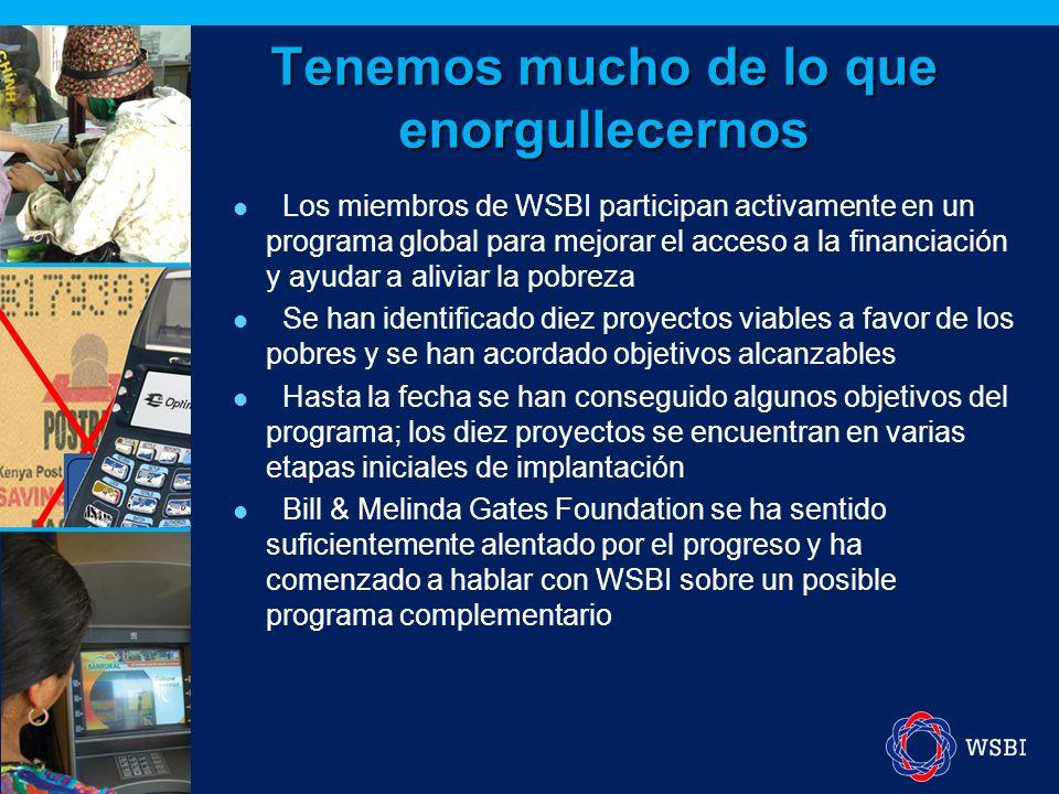 Tenemos mucho de lo que enorgullecernos Los miembros de WSBI participan activamente en un programa global para mejorar el acceso a la financiación y ayudar a aliviar la pobreza Se han identificado diez proyectos viables a favor de los pobres y se han acordado objetivos alcanzables Hasta la fecha se han conseguido algunos objetivos del programa; los diez proyectos se encuentran en varias etapas iniciales de implantación Bill & Melinda Gates Foundation se ha sentido suficientemente alentado por el progreso y ha comenzado a hablar con WSBI sobre un posible programa complementario