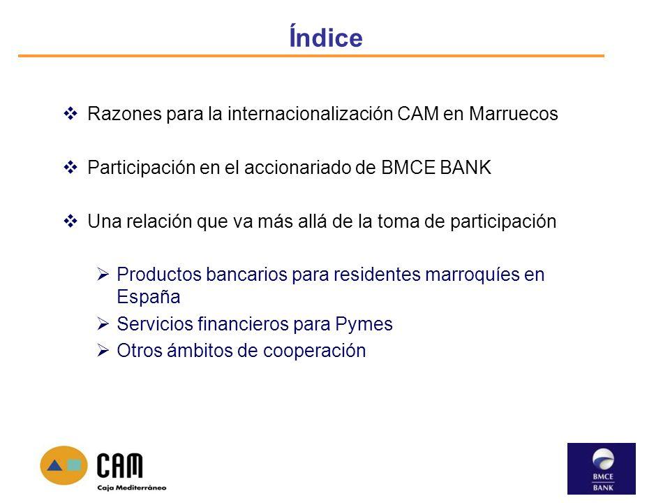Índice Razones para la internacionalización CAM en Marruecos Participación en el accionariado de BMCE BANK Una relación que va más allá de la toma de