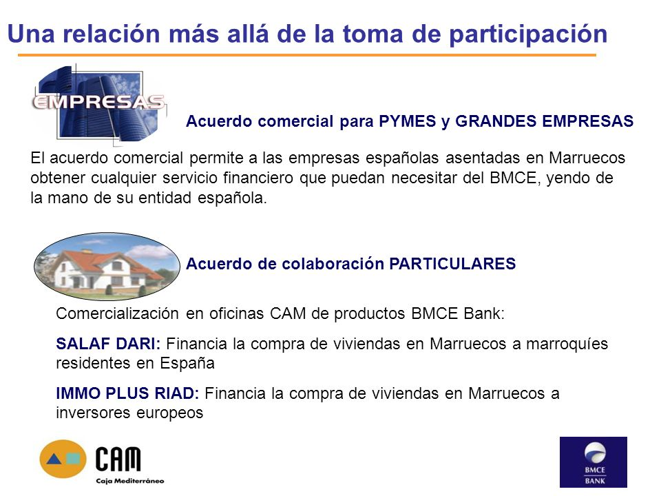 Una relación más allá de la toma de participación Acuerdo de colaboración PARTICULARES Comercialización en oficinas CAM de productos BMCE Bank: SALAF