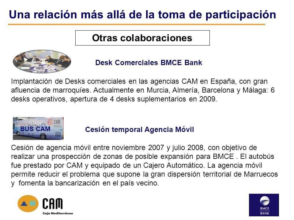 Una relación más allá de la toma de participación Otras colaboraciones BUS CAM Cesión temporal Agencia Móvil Cesión de agencia móvil entre noviembre 2