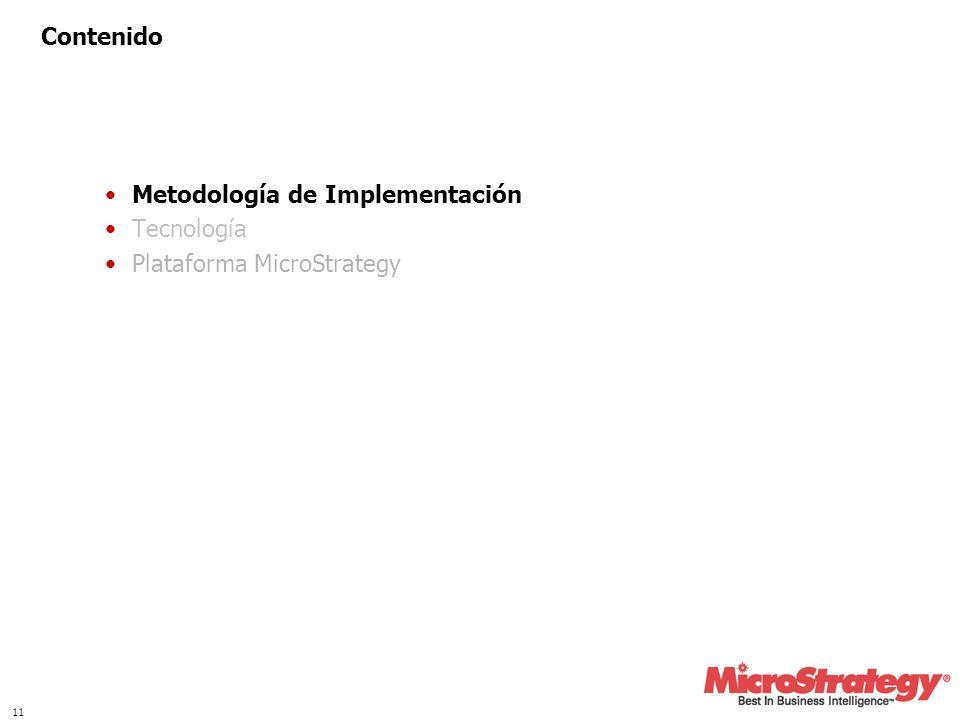11 Contenido Metodología de Implementación Tecnología Plataforma MicroStrategy