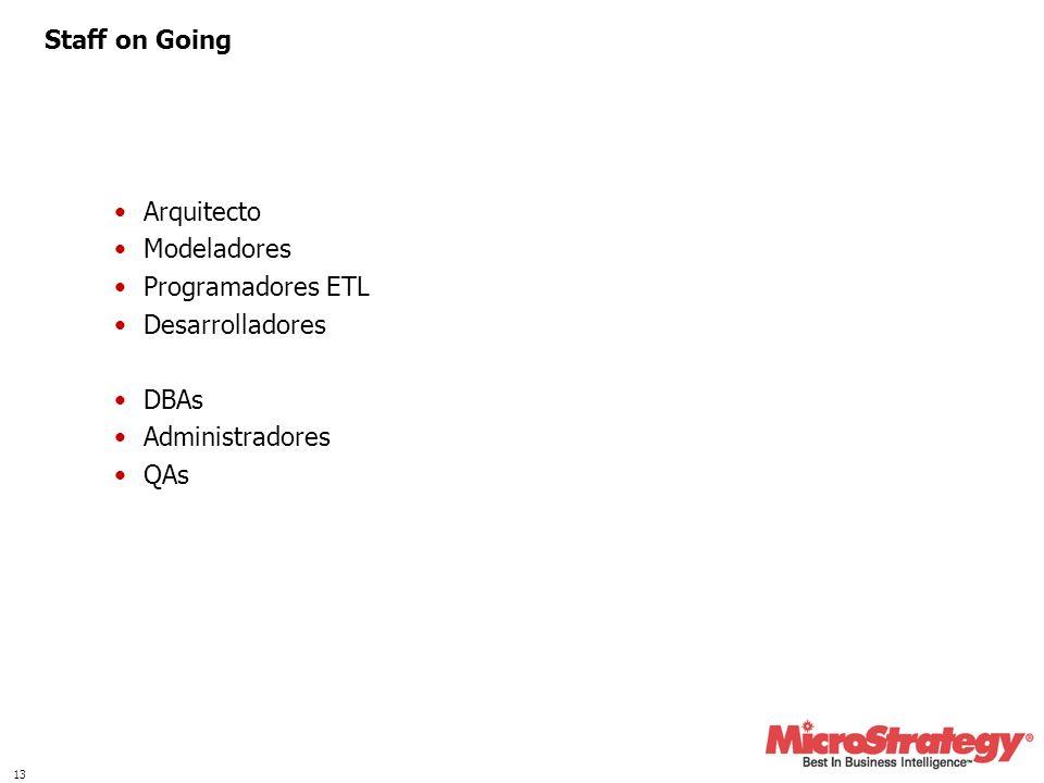 13 Staff on Going Arquitecto Modeladores Programadores ETL Desarrolladores DBAs Administradores QAs