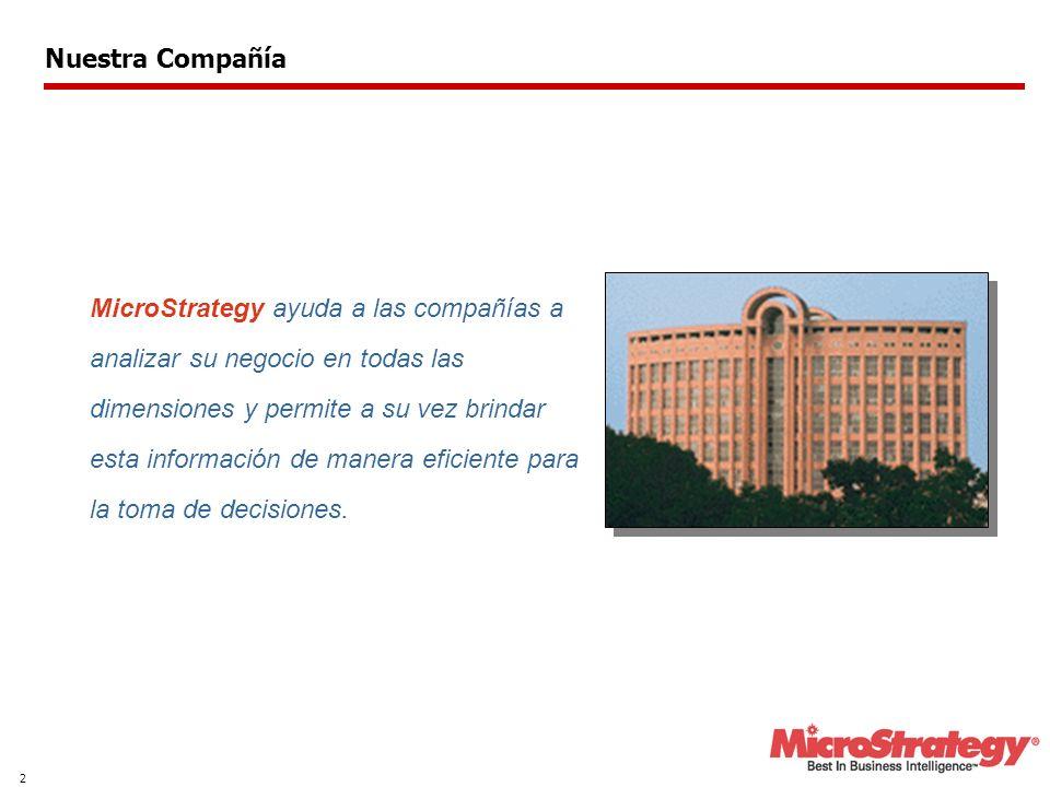 2 MicroStrategy ayuda a las compañías a analizar su negocio en todas las dimensiones y permite a su vez brindar esta información de manera eficiente para la toma de decisiones.