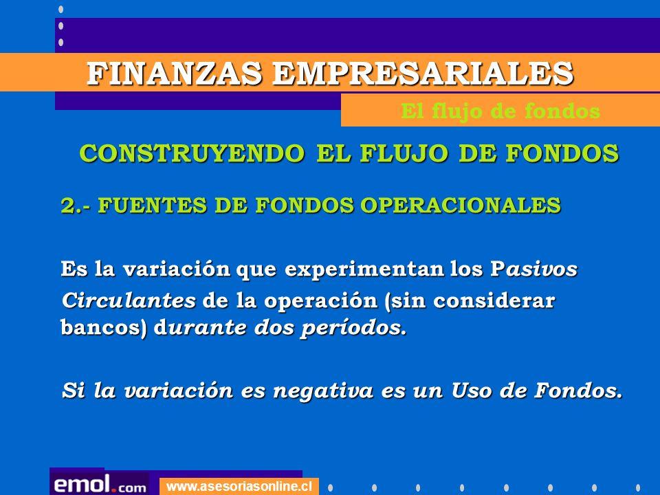 www.asesoriasonline.cl CONSTRUYENDO EL FLUJO DE FONDOS 2.- FUENTES DE FONDOS OPERACIONALES Es la variación que experimentan los P asivos Circulantes d