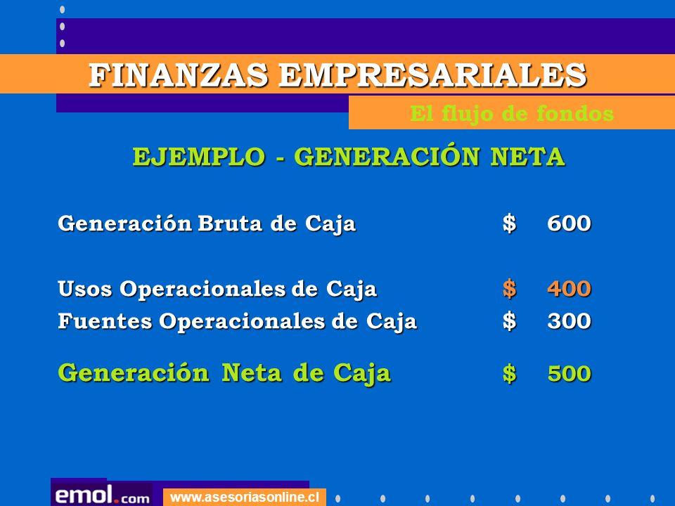 www.asesoriasonline.cl EJEMPLO - GENERACIÓN NETA Generación Bruta de Caja$ 600 Usos Operacionales de Caja $ 400 Fuentes Operacionales de Caja $ 300 Ge