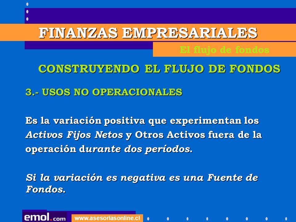 www.asesoriasonline.cl CONSTRUYENDO EL FLUJO DE FONDOS 3.- USOS NO OPERACIONALES Es la variación positiva que experimentan los Activos Fijos Netos y O