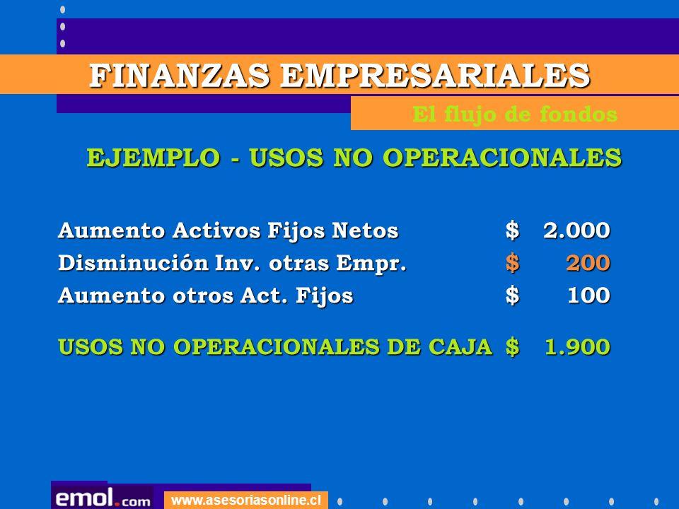 www.asesoriasonline.cl EJEMPLO - USOS NO OPERACIONALES Aumento Activos Fijos Netos $ 2.000 Disminución Inv. otras Empr. $ 200 Aumento otros Act. Fijos