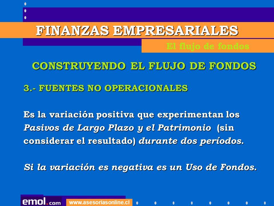 www.asesoriasonline.cl CONSTRUYENDO EL FLUJO DE FONDOS 3.- FUENTES NO OPERACIONALES Es la variación positiva que experimentan los Pasivos de Largo Pla