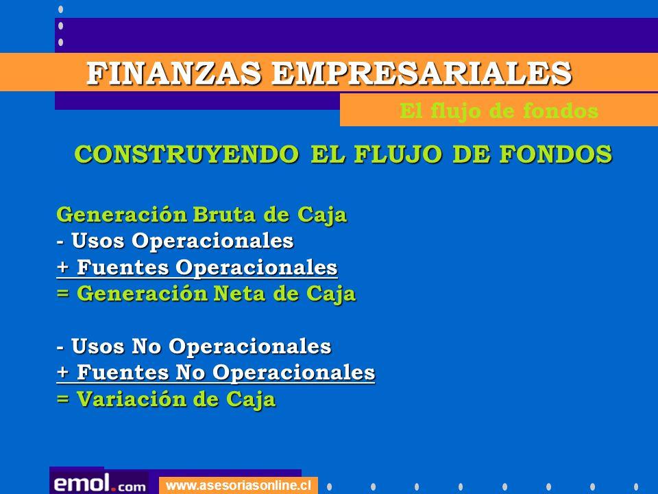 www.asesoriasonline.cl CONSTRUYENDO EL FLUJO DE FONDOS Generación Bruta de Caja - Usos Operacionales + Fuentes Operacionales = Generación Neta de Caja