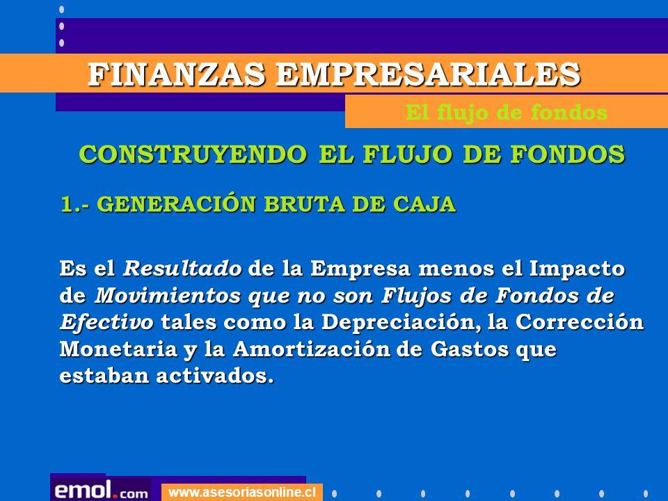 www.asesoriasonline.cl CONSTRUYENDO EL FLUJO DE FONDOS 1.- GENERACIÓN BRUTA DE CAJA Es el Resultado de la Empresa menos el Impacto de Movimientos que