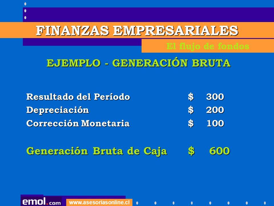 www.asesoriasonline.cl EJEMPLO - GENERACIÓN BRUTA Resultado del Período$ 300 Depreciación$ 200 Corrección Monetaria$ 100 Generación Bruta de Caja$ 600