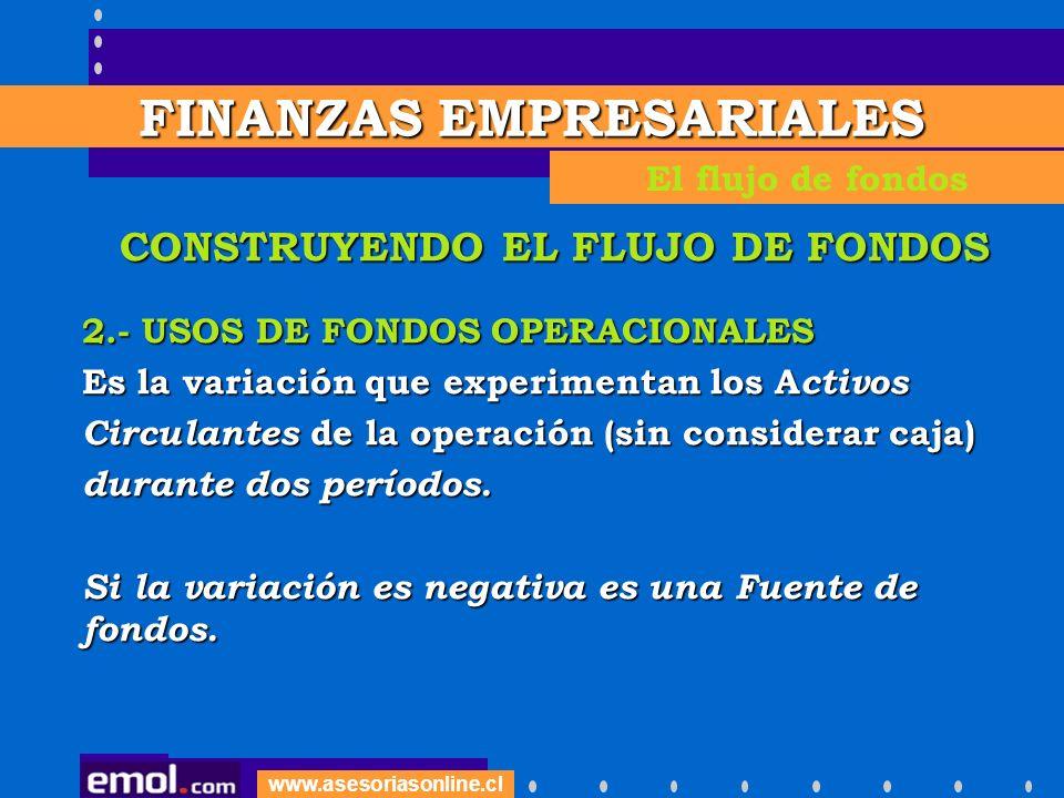 www.asesoriasonline.cl EJEMPLO - USOS OPERACIONALES Aumento Crédito a Clientes$ 500 Disminución de Inventario $ 200 Aumento Otros Act.
