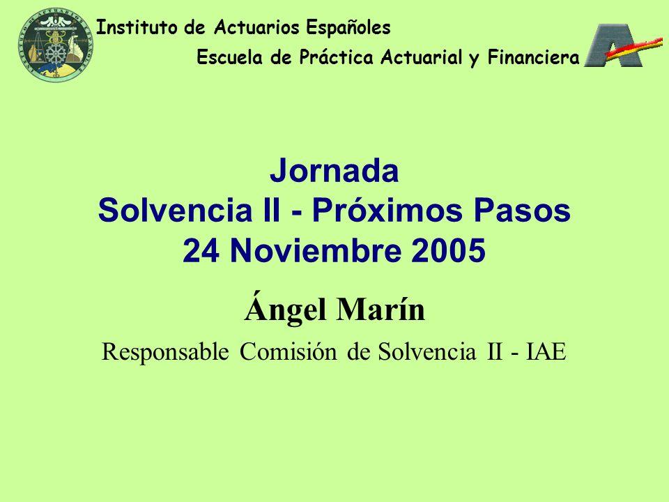Jornada Solvencia II - Próximos Pasos 24 Noviembre 2005 Ángel Marín Responsable Comisión de Solvencia II - IAE Instituto de Actuarios Españoles Escuela de Práctica Actuarial y Financiera