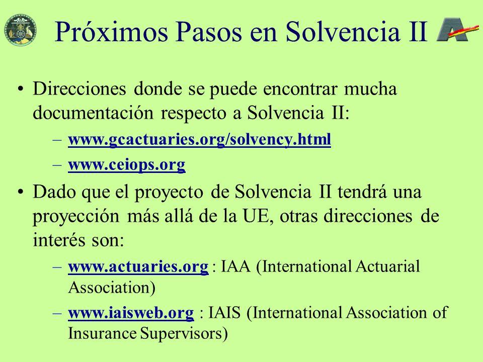 Direcciones donde se puede encontrar mucha documentación respecto a Solvencia II: –www.gcactuaries.org/solvency.htmlwww.gcactuaries.org/solvency.html –www.ceiops.orgwww.ceiops.org Dado que el proyecto de Solvencia II tendrá una proyección más allá de la UE, otras direcciones de interés son: –www.actuaries.org : IAA (International Actuarial Association)www.actuaries.org –www.iaisweb.org : IAIS (International Association of Insurance Supervisors)www.iaisweb.org Próximos Pasos en Solvencia II