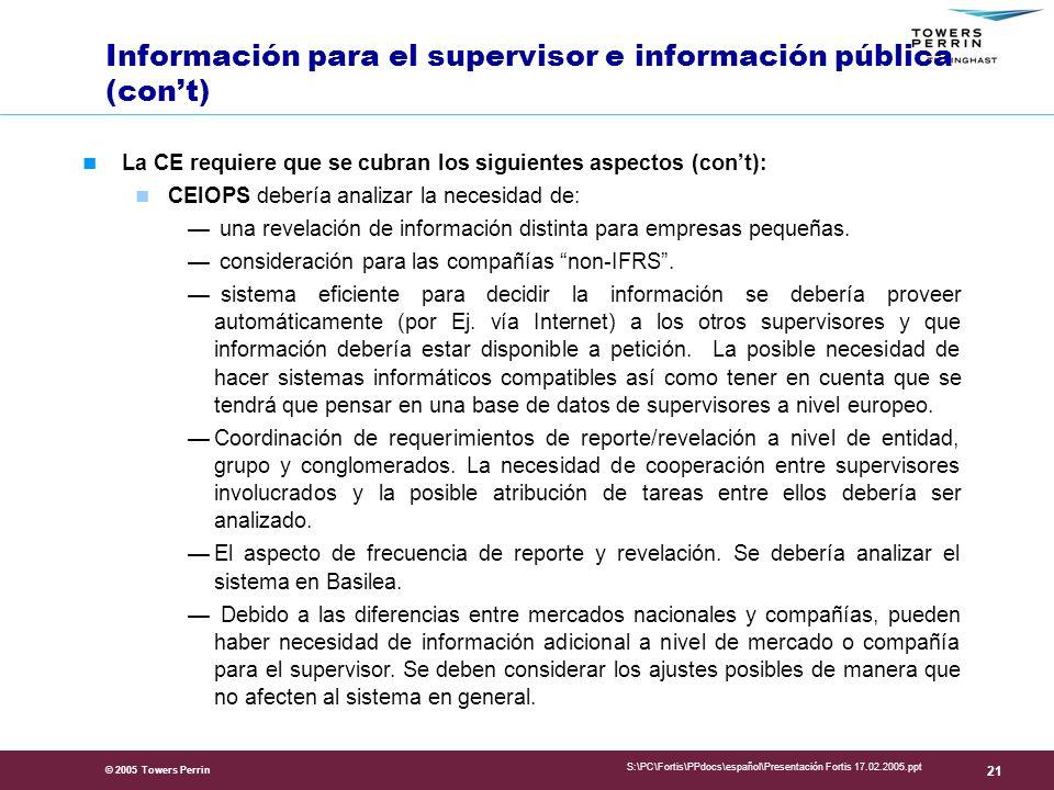 © 2005 Towers Perrin S:\PC\Fortis\PPdocs\español\Presentación Fortis 17.02.2005.ppt 21 Información para el supervisor e información pública (cont) La CE requiere que se cubran los siguientes aspectos (cont): CEIOPS debería analizar la necesidad de: una revelación de información distinta para empresas pequeñas.
