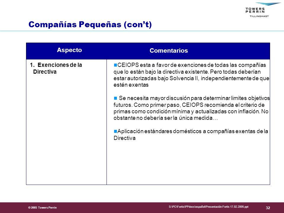 © 2005 Towers Perrin S:\PC\Fortis\PPdocs\español\Presentación Fortis 17.02.2005.ppt 32 1.
