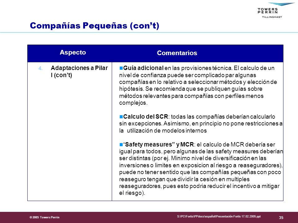 © 2005 Towers Perrin S:\PC\Fortis\PPdocs\español\Presentación Fortis 17.02.2005.ppt 35 4.