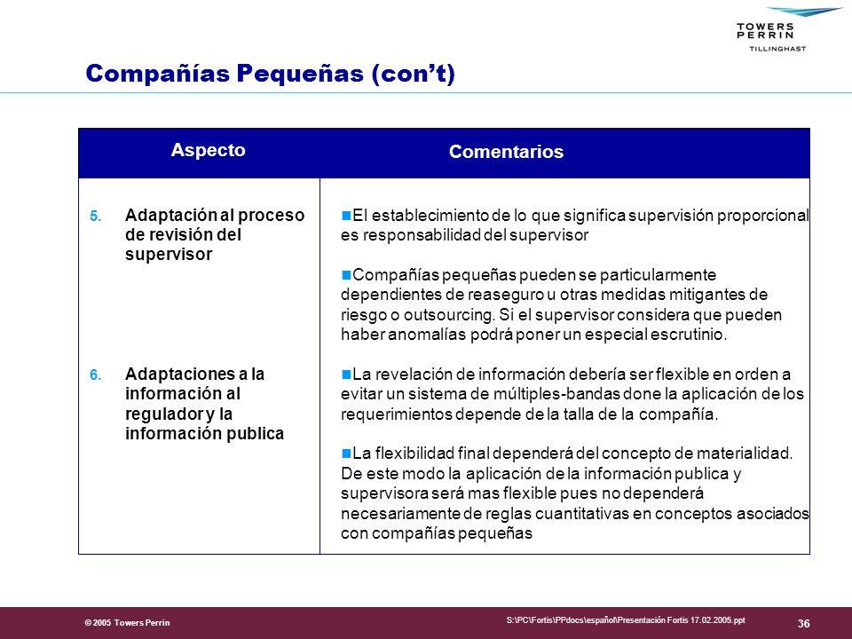 © 2005 Towers Perrin S:\PC\Fortis\PPdocs\español\Presentación Fortis 17.02.2005.ppt 36 5.
