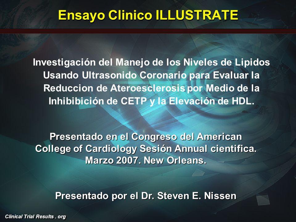 Clinical Trial Results. org Ensayo Clinico ILLUSTRATE Presentado en el Congreso del American College of Cardiology Sesión Annual cientifica. Marzo 200
