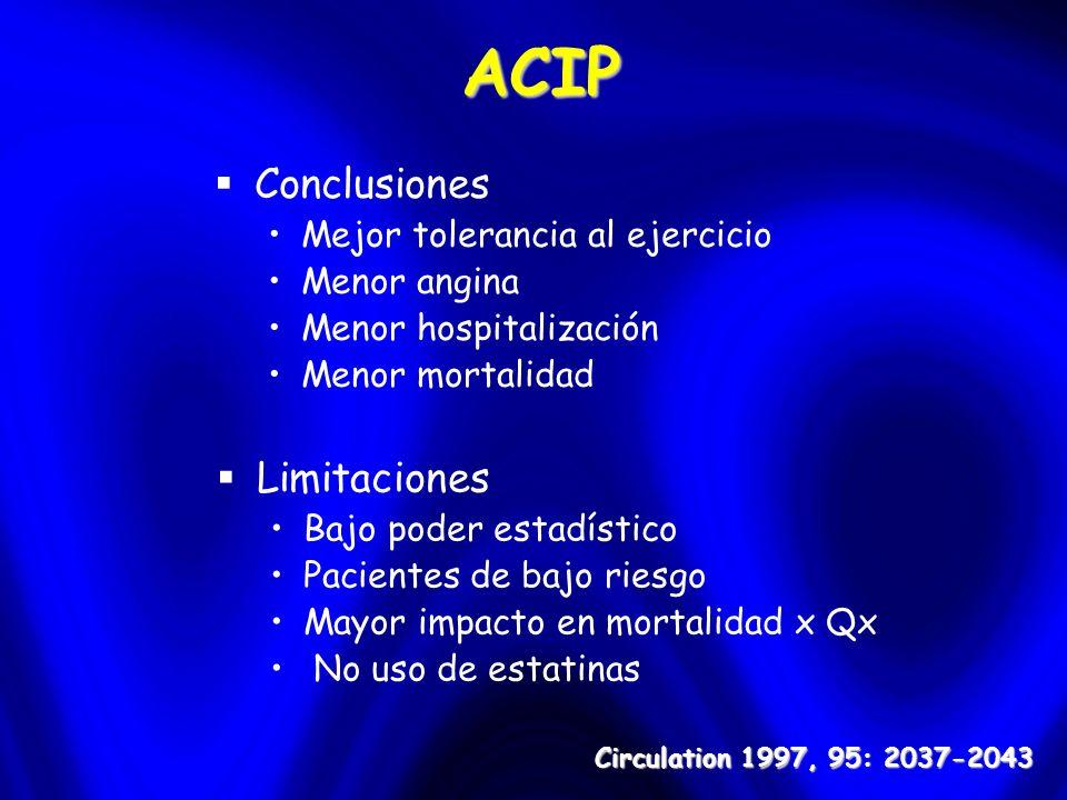 ACIP Conclusiones Mejor tolerancia al ejercicio Menor angina Menor hospitalización Menor mortalidad Circulation 1997, 95: 2037-2043 Limitaciones Bajo poder estadístico Pacientes de bajo riesgo Mayor impacto en mortalidad x Qx No uso de estatinas