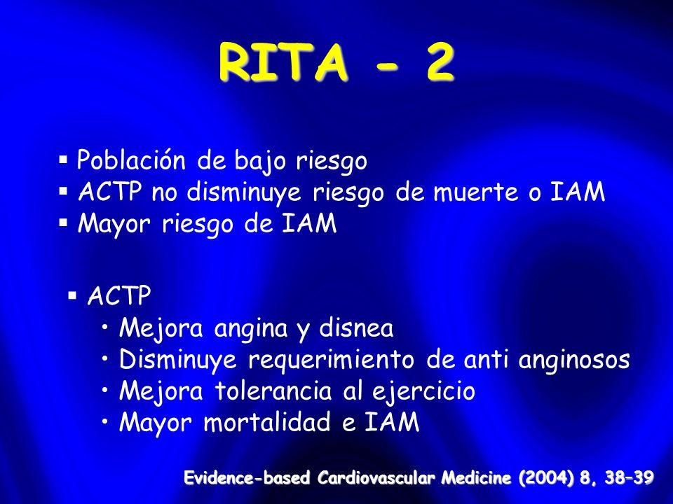 RITA - 2 Población de bajo riesgo ACTP no disminuye riesgo de muerte o IAM Mayor riesgo de IAM ACTP Mejora angina y disnea Disminuye requerimiento de anti anginosos Mejora tolerancia al ejercicio Mayor mortalidad e IAM Evidence-based Cardiovascular Medicine (2004) 8, 38–39