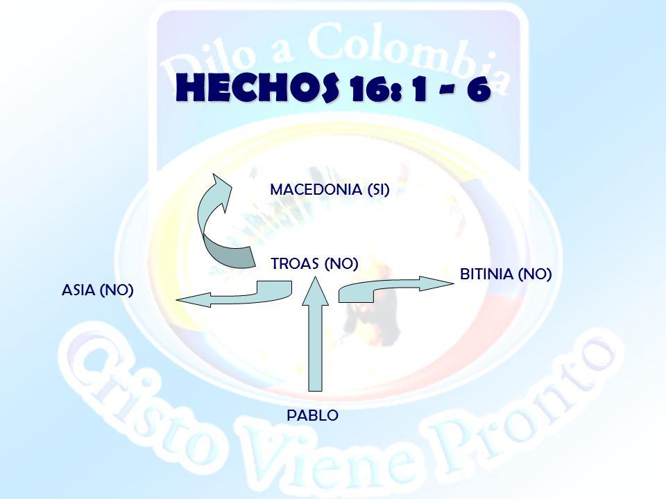 HECHOS 16: 1 - 6 TROAS (NO) ASIA (NO) BITINIA (NO) PABLO MACEDONIA (SI)
