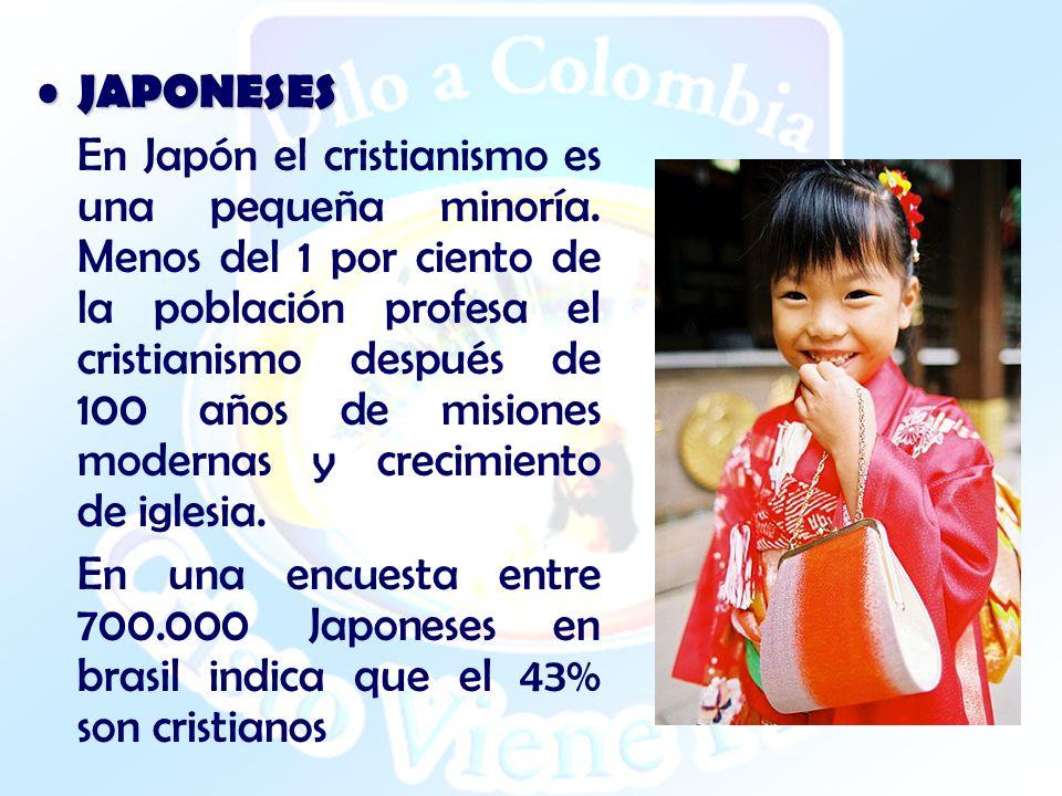 JAPONESES JAPONESES En Japón el cristianismo es una pequeña minoría. Menos del 1 por ciento de la población profesa el cristianismo después de 100 año