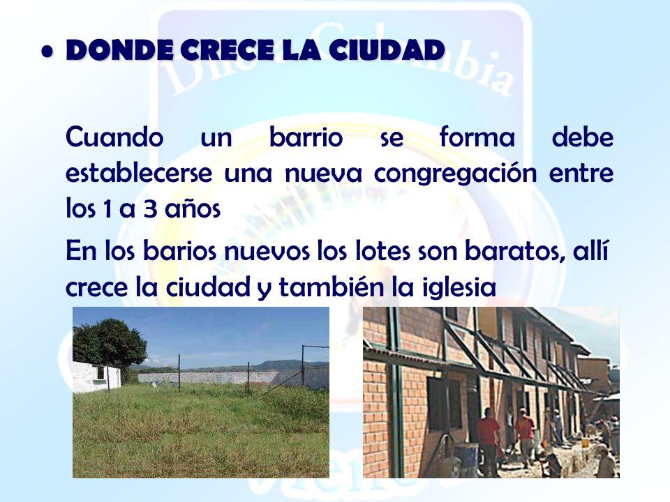 DONDE CRECE LA CIUDAD DONDE CRECE LA CIUDAD Cuando un barrio se forma debe establecerse una nueva congregación entre los 1 a 3 años En los barios nuev