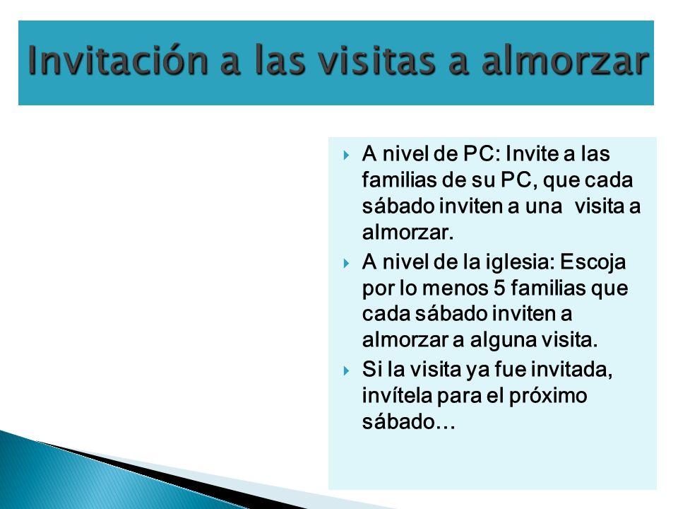 A nivel de PC: Invite a las familias de su PC, que cada sábado inviten a una visita a almorzar.