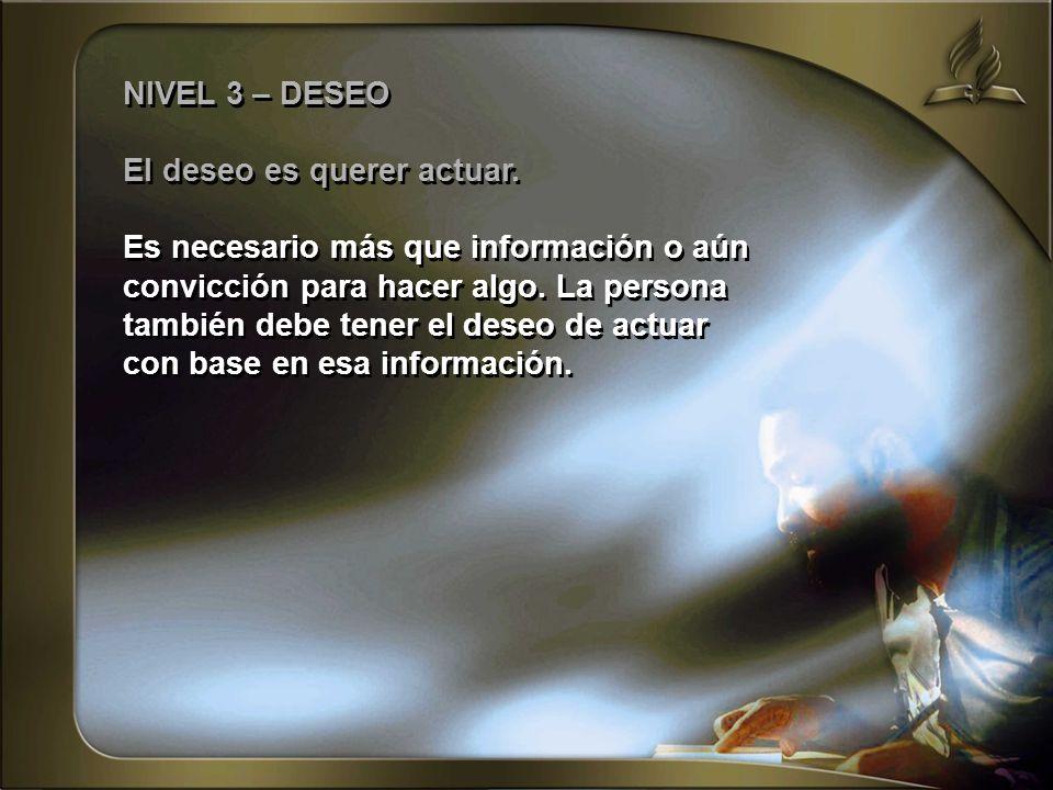 NIVEL 3 – DESEO El deseo es querer actuar. Es necesario más que información o aún convicción para hacer algo. La persona también debe tener el deseo d