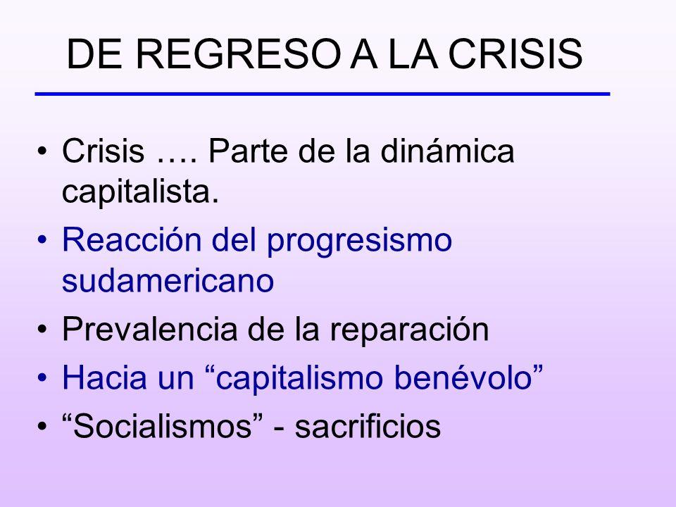 Crisis …. Parte de la dinámica capitalista. Reacción del progresismo sudamericano Prevalencia de la reparación Hacia un capitalismo benévolo Socialism