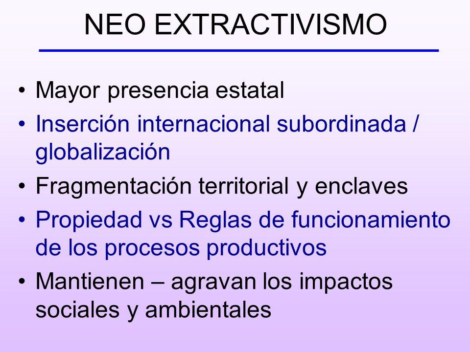 NEO EXTRACTIVISMO Mayor presencia estatal Inserción internacional subordinada / globalización Fragmentación territorial y enclaves Propiedad vs Reglas de funcionamiento de los procesos productivos Mantienen – agravan los impactos sociales y ambientales