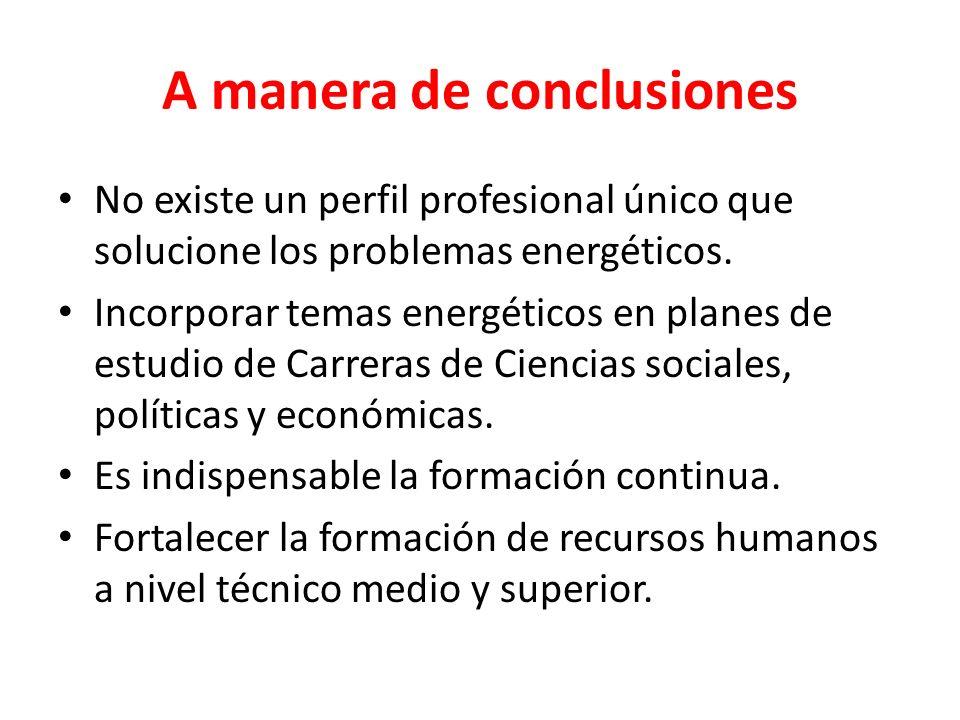 A manera de conclusiones No existe un perfil profesional único que solucione los problemas energéticos. Incorporar temas energéticos en planes de estu