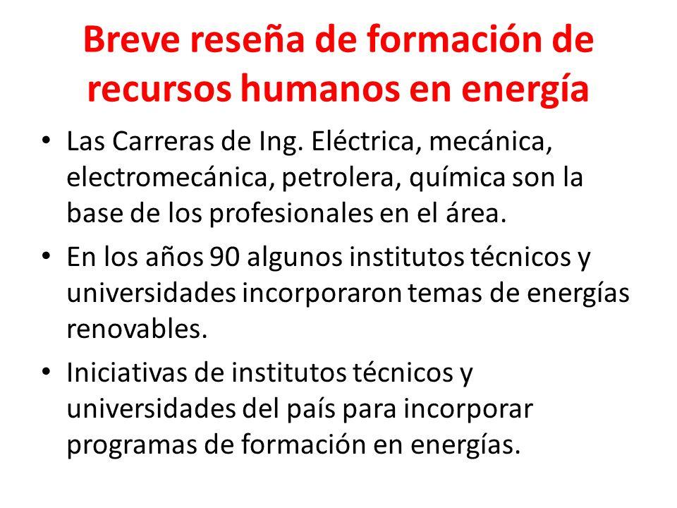 Breve reseña de formación de recursos humanos en energía Las Carreras de Ing. Eléctrica, mecánica, electromecánica, petrolera, química son la base de