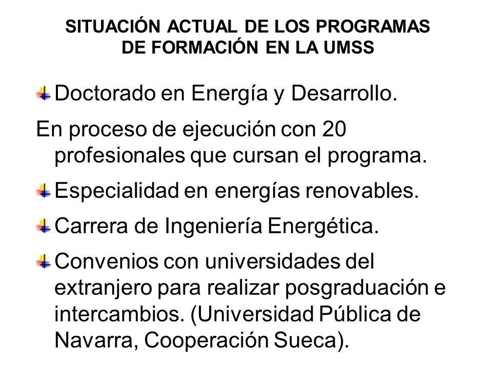 SITUACIÓN ACTUAL DE LOS PROGRAMAS DE FORMACIÓN EN LA UMSS Doctorado en Energía y Desarrollo. En proceso de ejecución con 20 profesionales que cursan e