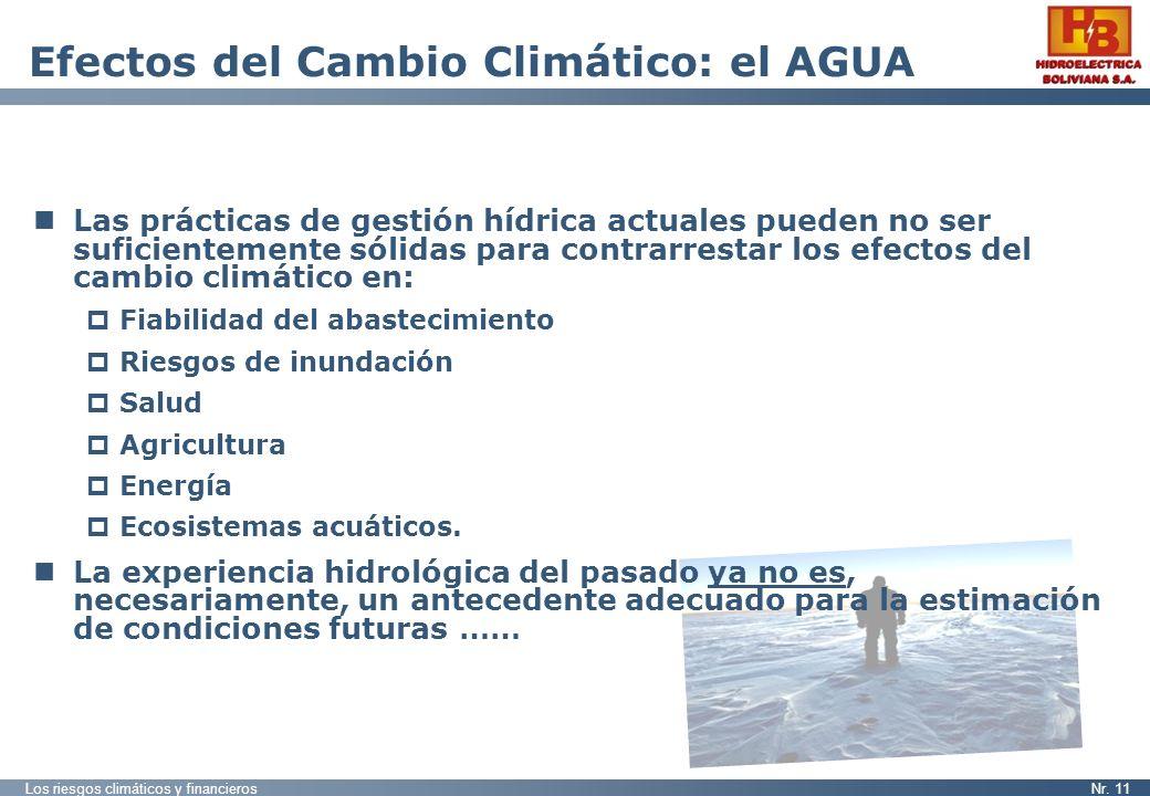 Los riesgos climáticos y financierosNr. 11 Efectos del Cambio Climático: el AGUA Las prácticas de gestión hídrica actuales pueden no ser suficientemen
