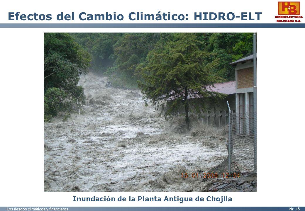 Los riesgos climáticos y financierosNr. 15 Efectos del Cambio Climático: HIDRO-ELT Inundación de la Planta Antigua de Chojlla