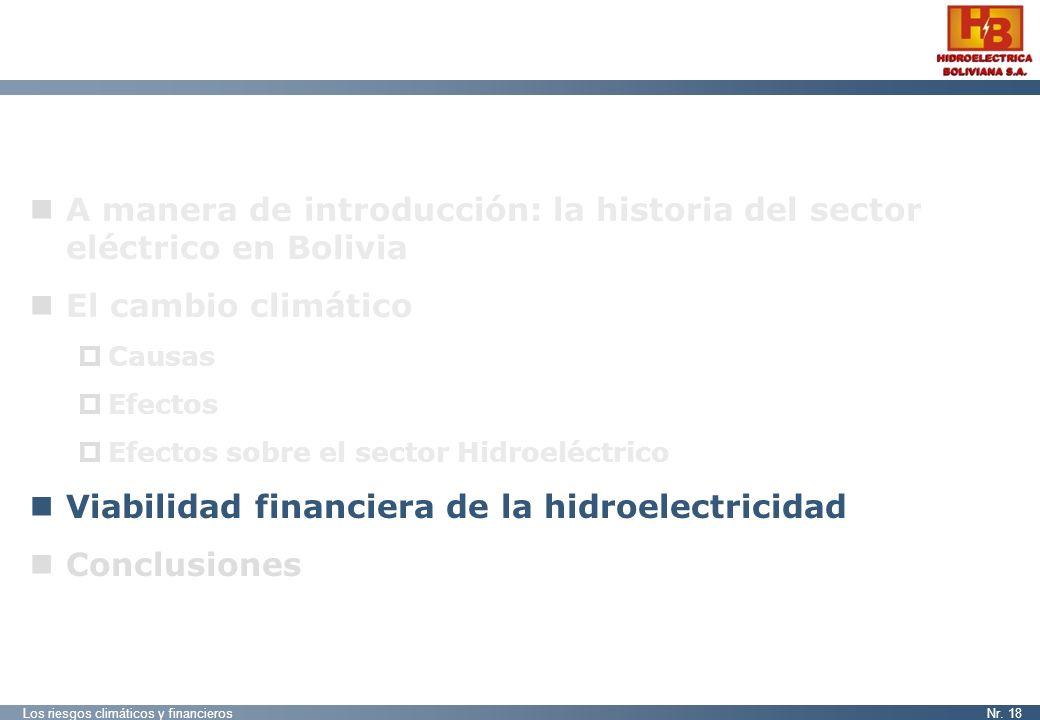 Los riesgos climáticos y financierosNr. 18 A manera de introducción: la historia del sector eléctrico en Bolivia El cambio climático Causas Efectos Ef